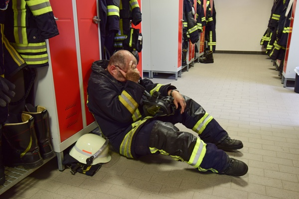 injured firefighter in firehouse