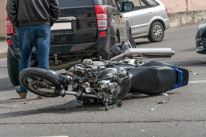 crashed motorcycle in street