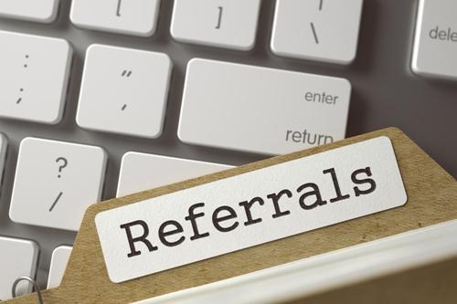 referrals file folder on computer keyboard