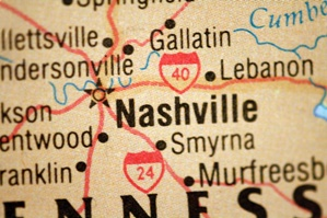 road map closeup showing nashville tennessee area