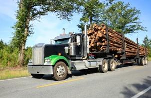 semi truck hauling logs