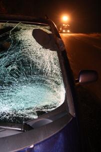 shattered windshield on car after pedestrian crash