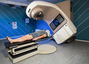 A man receives radiation therapy to treat cancer