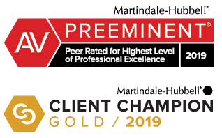 Attorney Marindale-Hubbel AV Preeminent and Client Champion award badges 2019