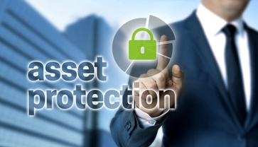 Lawyer Pressing an Asset Protection Button