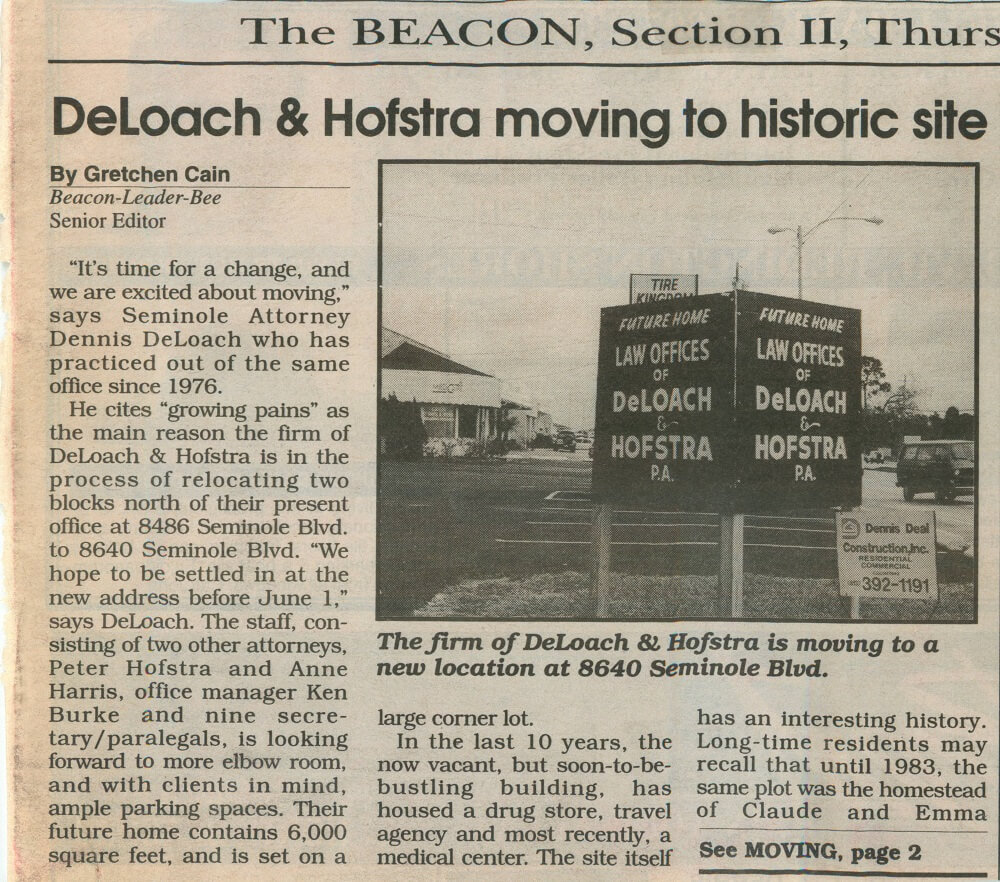 DeLoach & Hofstra article in The Beacon newspaper on new location