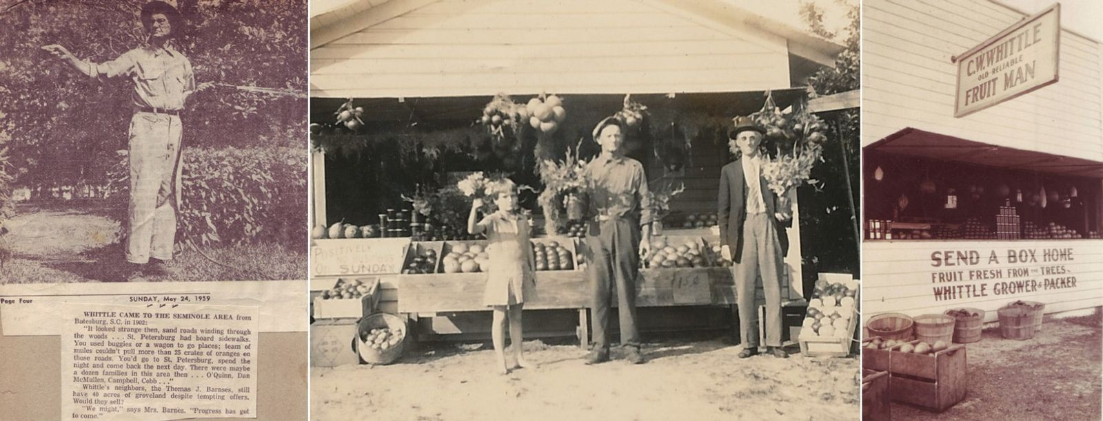 Claude Whittle and the fruit stand in front of the Whittle house in 1959