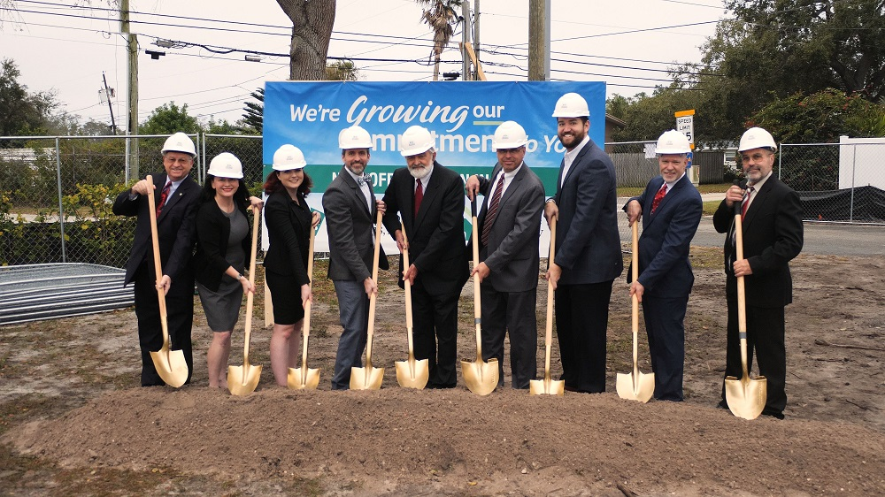 Partners, attorneys, and DHC team members breaking ground on new law office building project in Seminole, Florida.