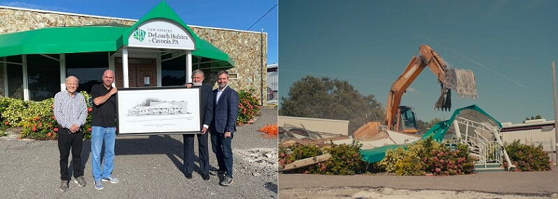 DHC team holding artwork in front of old building before and after demo