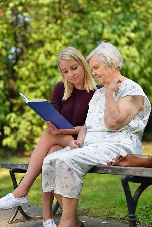 Elder woman discussing plans with her fiduciary