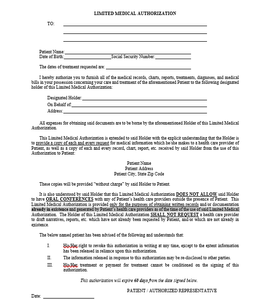 Mock Limited Medical Authorization Form
