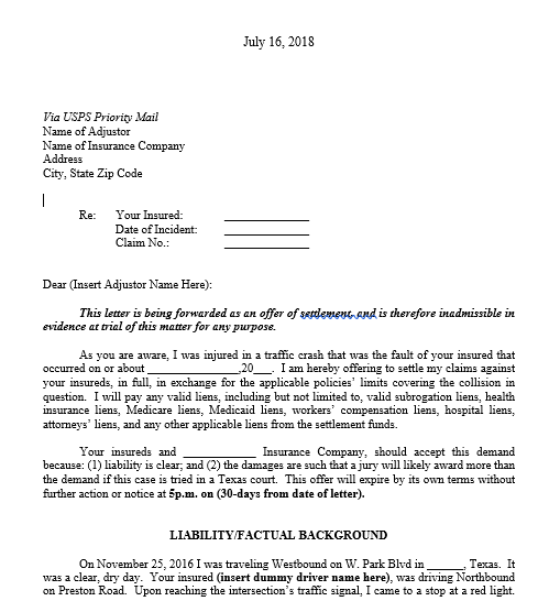 Mock Settlement Demand Letter