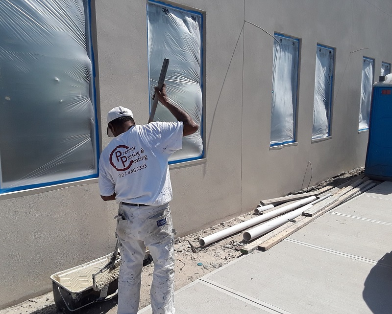 New building getting painted