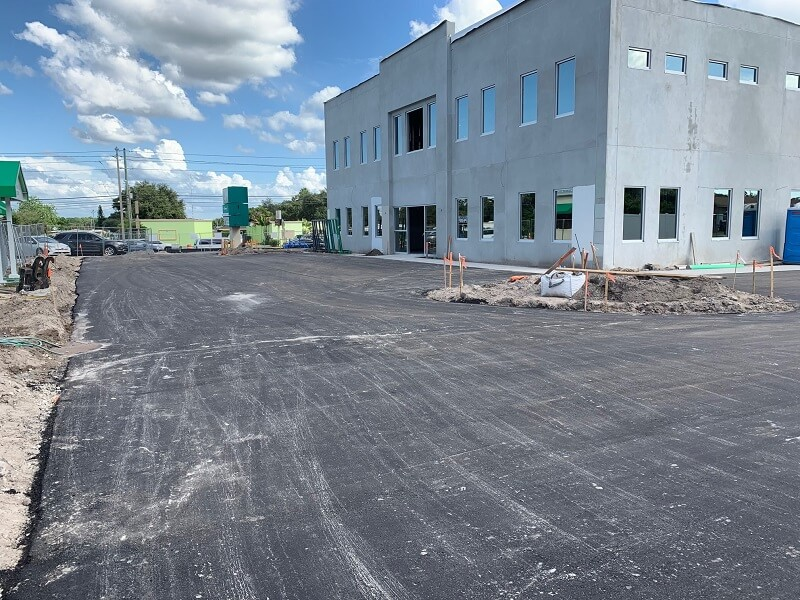 New parking lot getting paved