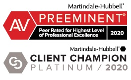 Attorney Marindale-Hubbel AV Preeminent and Client Champion award badges 20