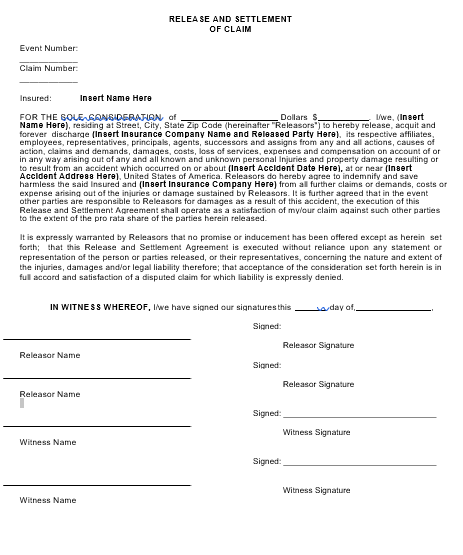 Mock Release and Settlement Form
