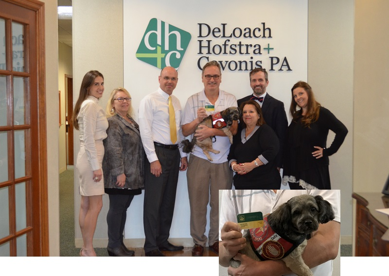 DHC Law team with one of our VIP members Ron with his dog Coco