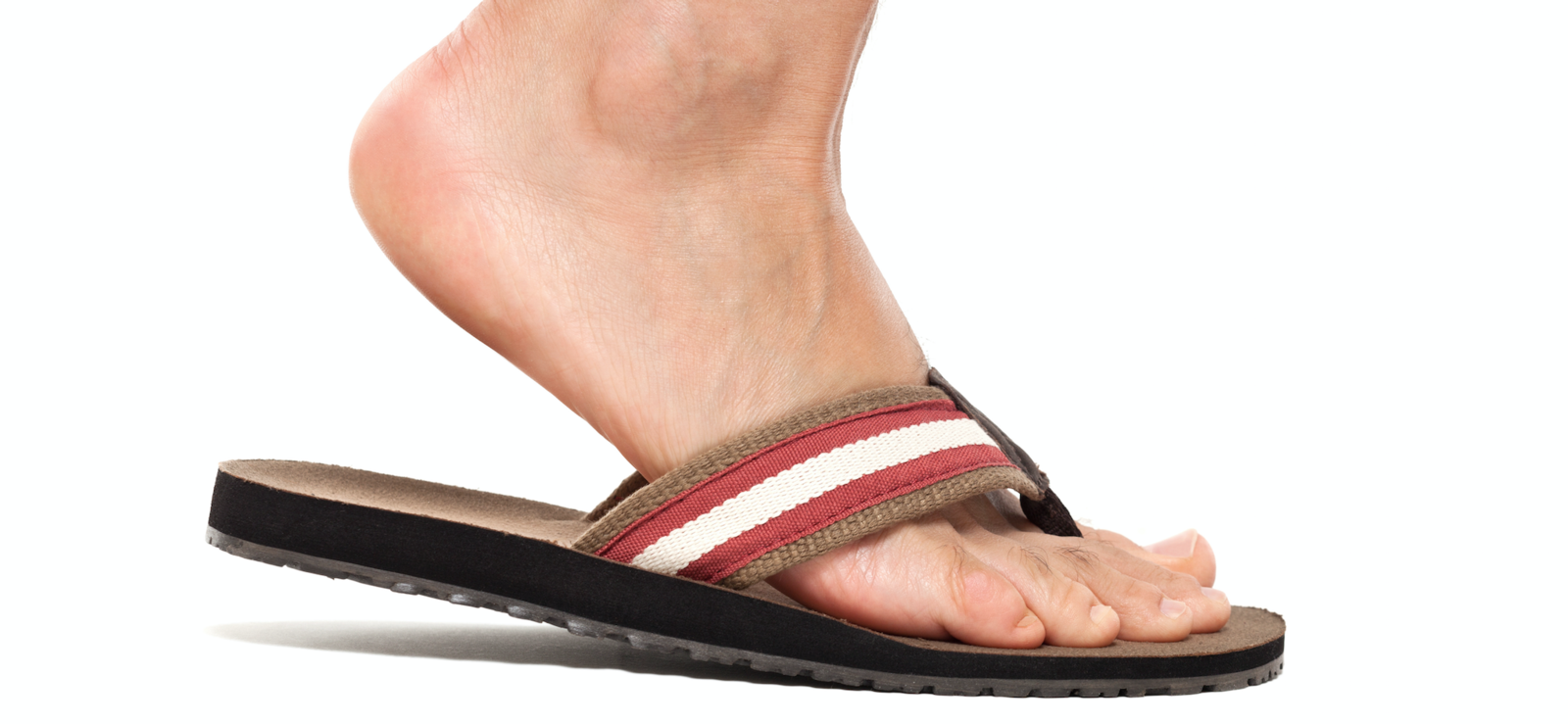 Flat foot in a flat sandal