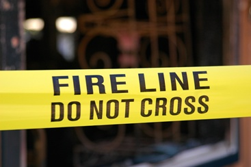 Fire Line Tape at the Scene of an Arson