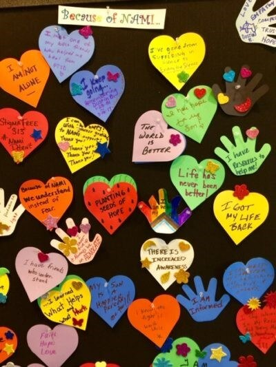 NAMI board of hearts and messages