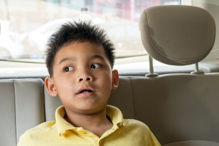 Young Child Sitting in the Backseat of a Car