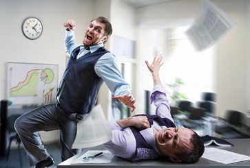 Worker Attacking a Coworker in the Office