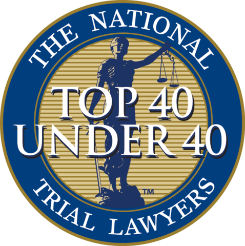 the national top 40 under 40 trial lawyers badge