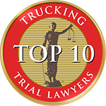 top 10 trucking trial lawyers badge