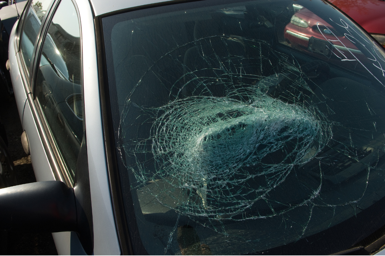 Cracked windshield caused by drunk driver