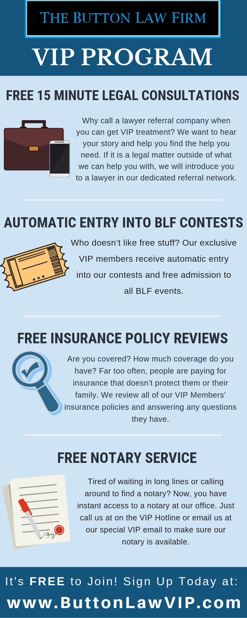 The Button Law Firm VIP Program for clients