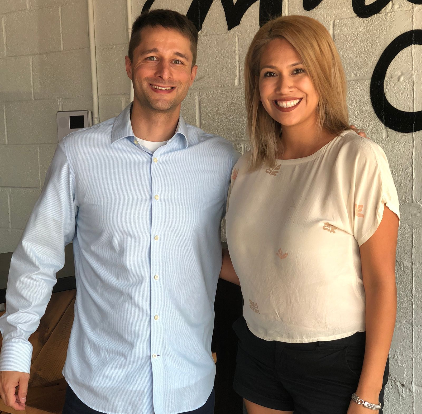 Russell Button with Orange Salon Owner, Mary