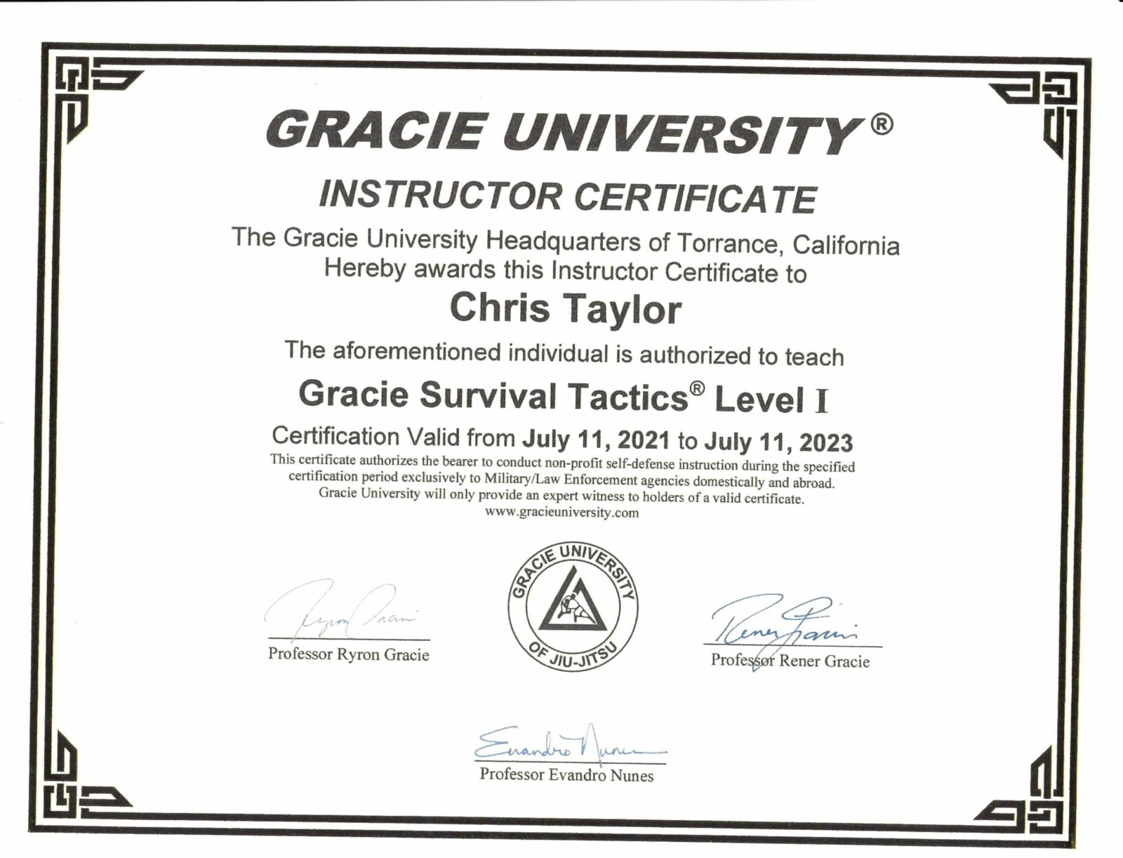 Gracie Survival Tactics Certified Instructor BJJ Exton, PA