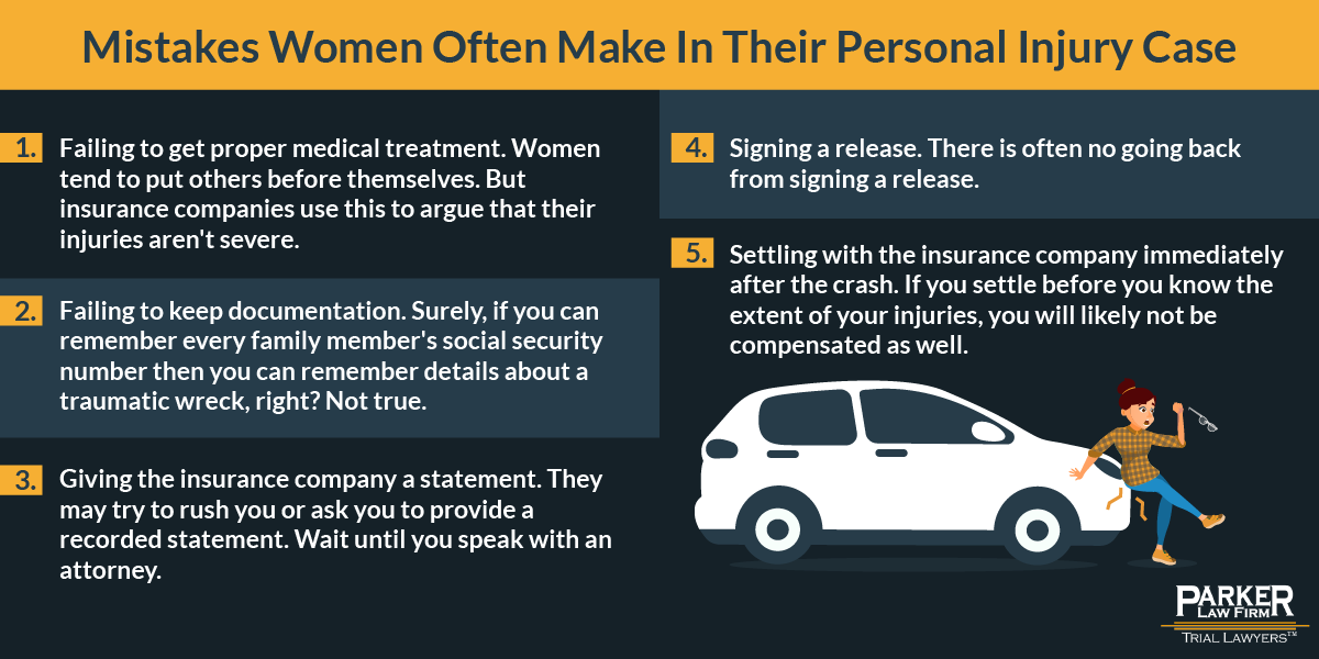 Mistakes women make in a personal injury case