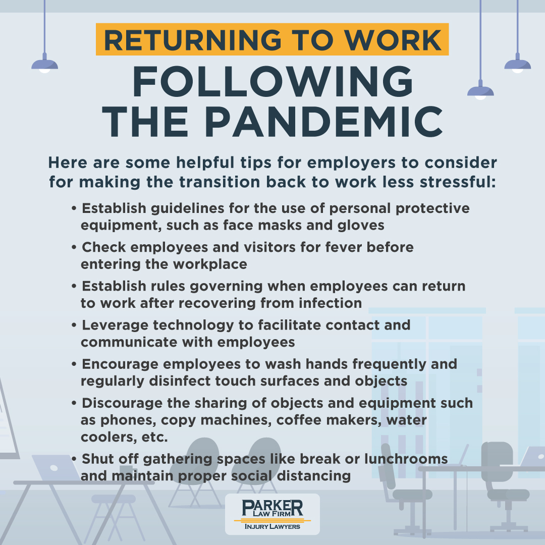 Returning to work after the pandemic tips Parker Law Firm