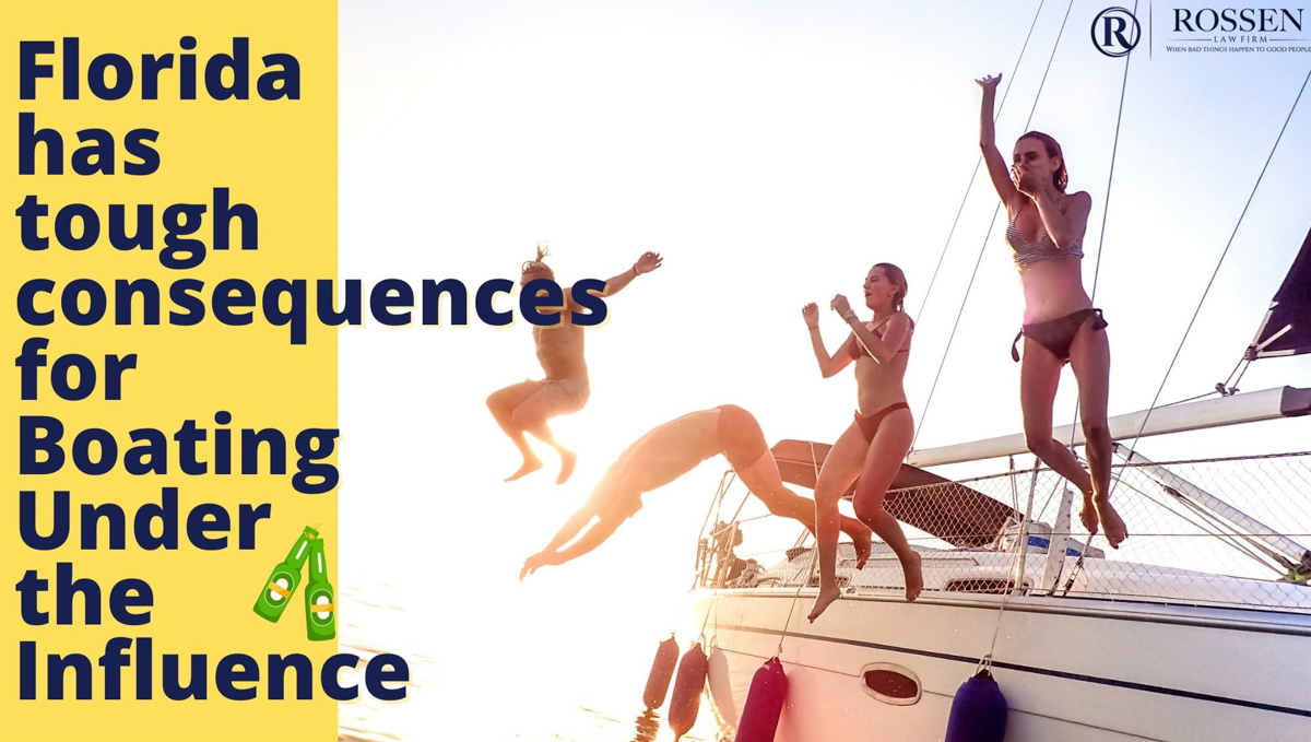 an image with men and women jumping off of a yacht in Boca Raton says: Florida has tough Boating Under the influence consequences