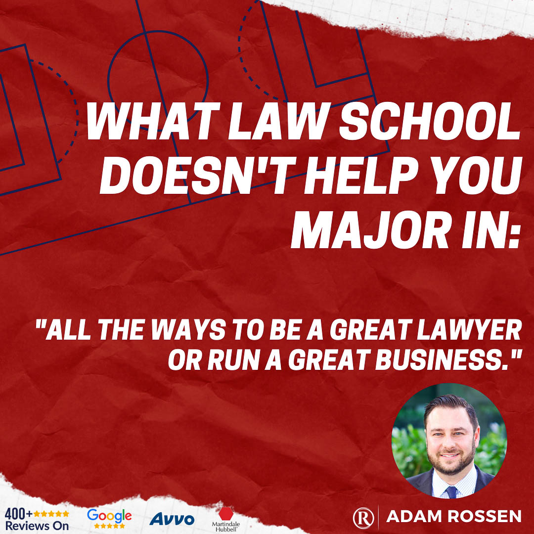 DUI Criminal Defense Attorney shares how Law School doesn't help lawyers prepare to be a great lawyer or to run a great business in a quote graphic