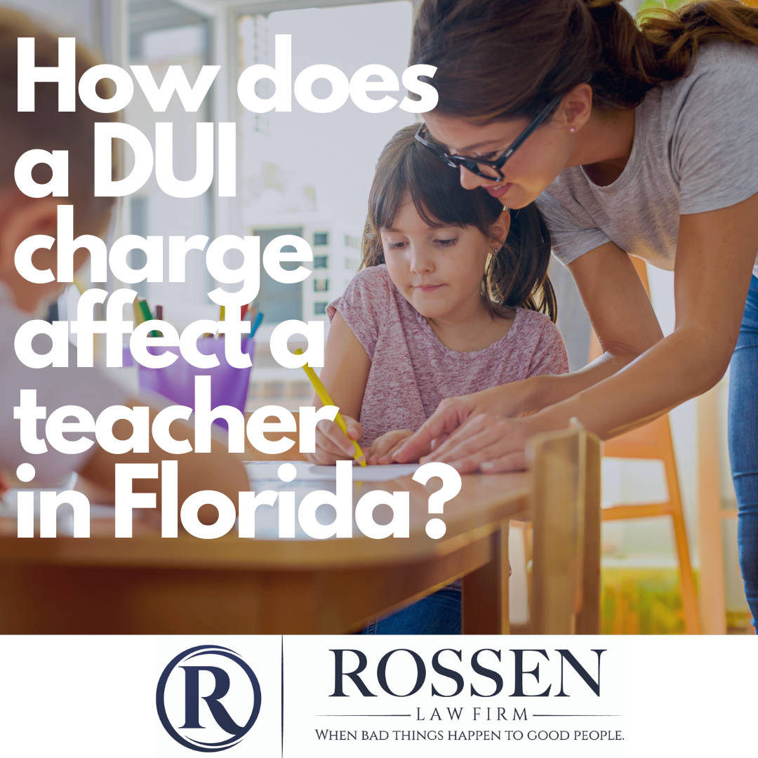 "A teacher helps a student at her desk, the photo reads ""how does a DUI charge affect a teacher in Florida?"""