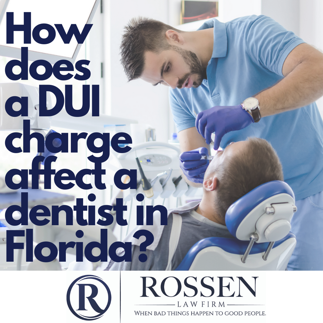 """A dentist examines a child's teeth in a dental office. The photo reads: """"How Does a DUI Charge Affect a Dentist in Florida?"""""""