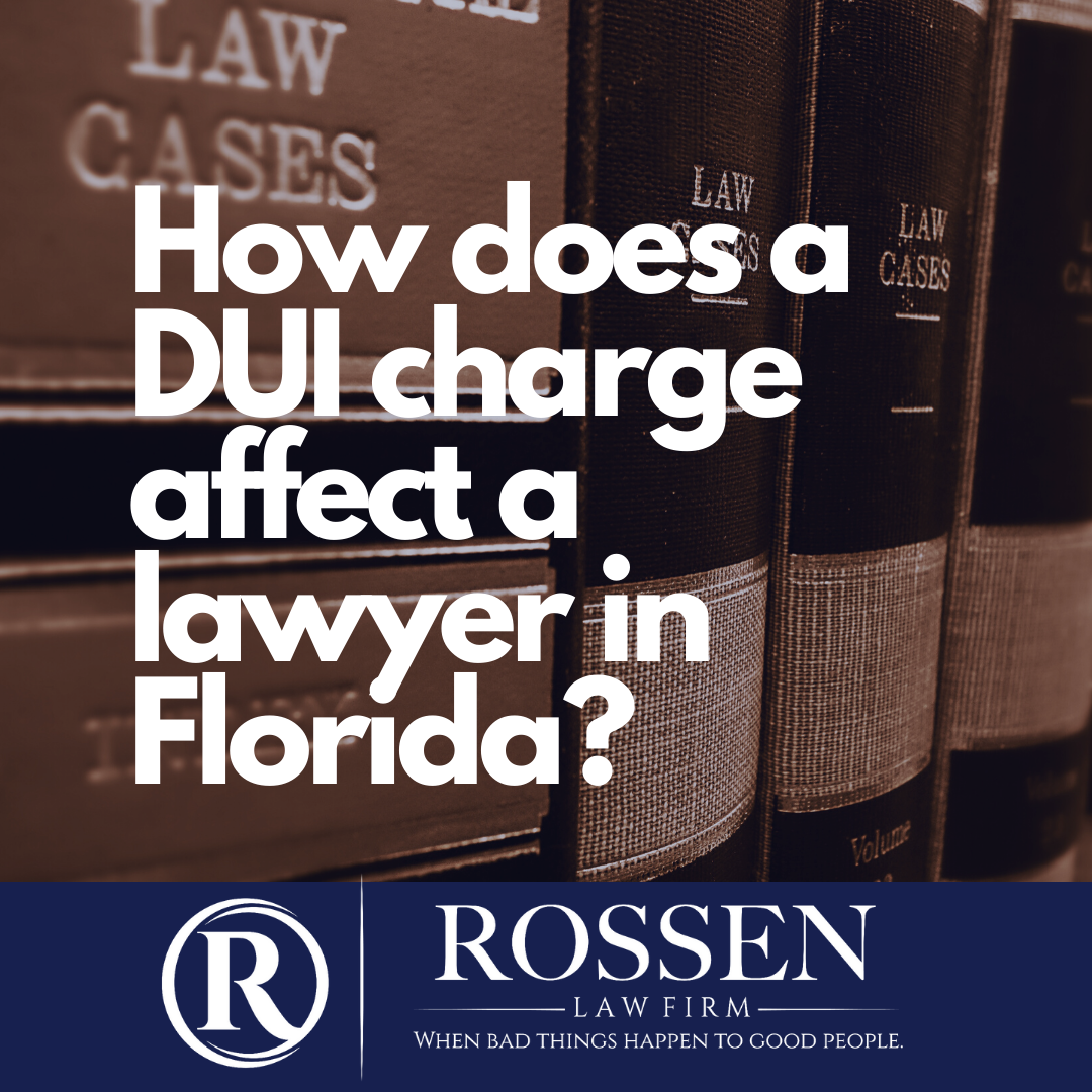 "a book shelf of law books with the question""How does a DUI charge affect a Lawyer in Florida?"""