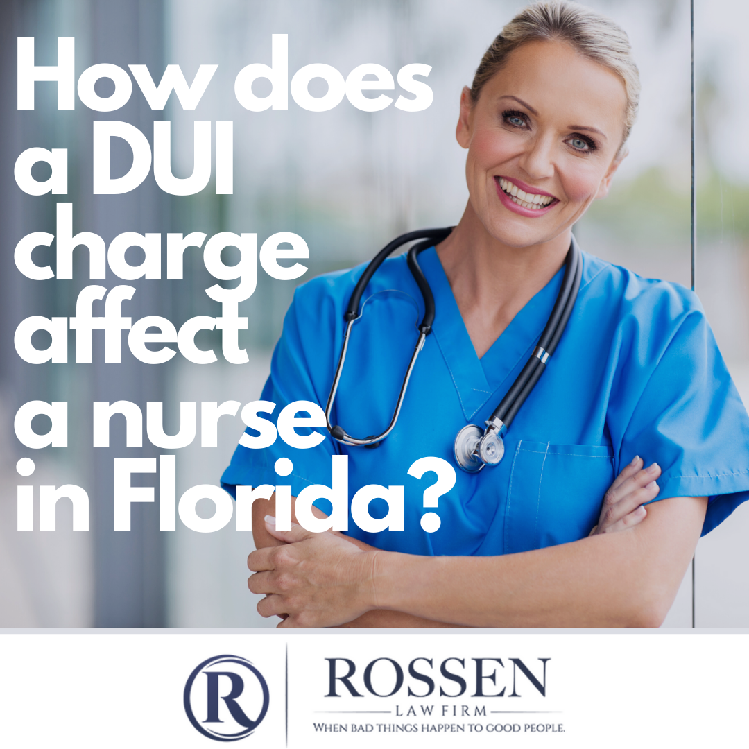 "A photo of a nurse with the question ""How does a DUI charge affect a nurse in Florida?"""