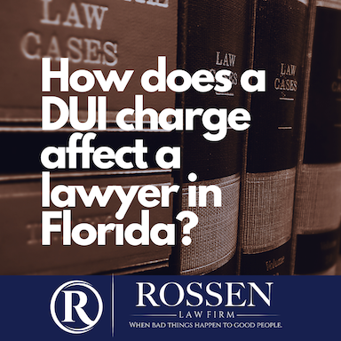 a book shelf of law books with the question : how does a DUI charge affect a lawyer in Florida