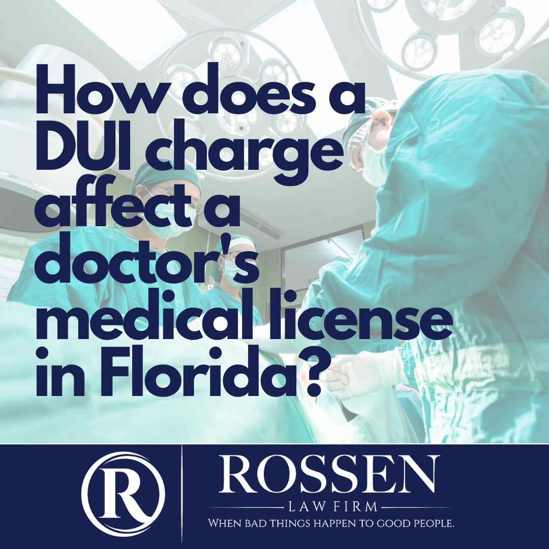A photo of an operating room that reads: How does a DUI charge affects a doctor's medical license in Florida?