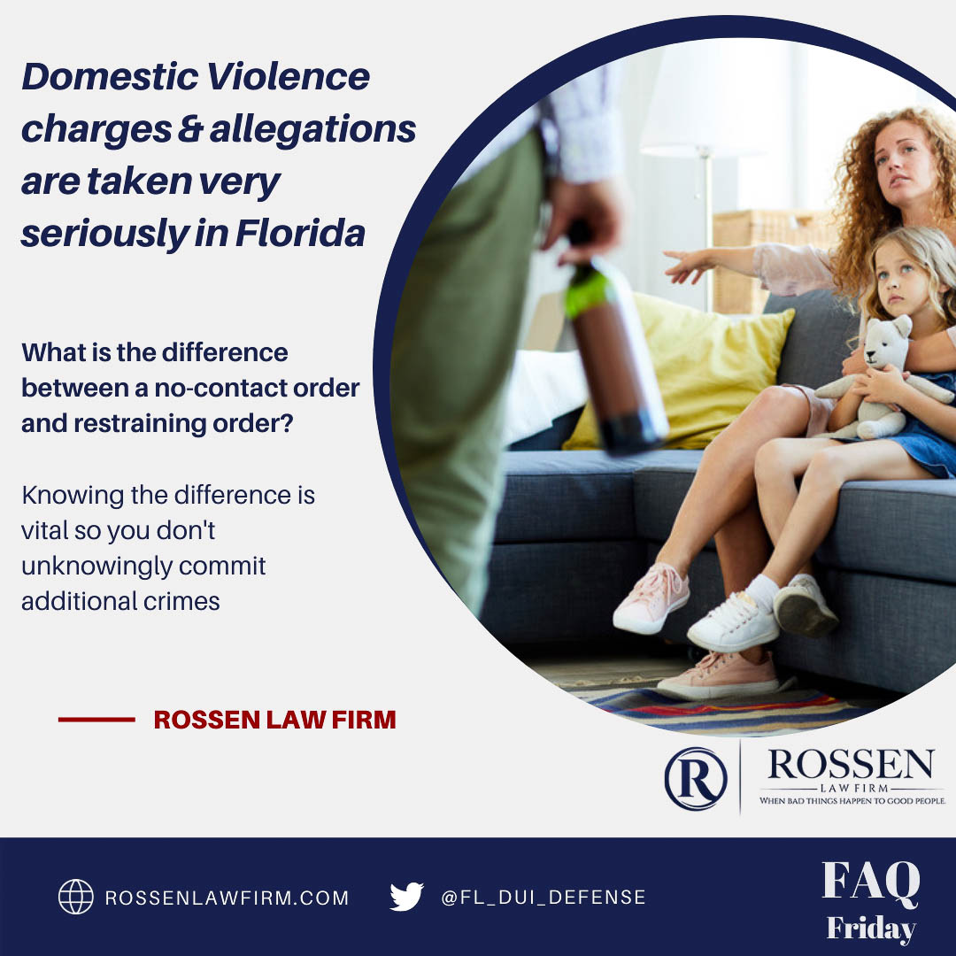 an infographic illustrates domestic violence in South Florida and talks about the difference between no contact orders and restraining orders