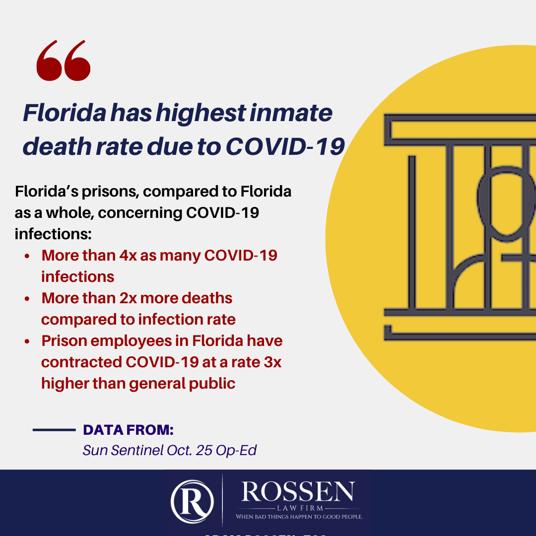 Infographic explains that Florida has highest inmate death rate in nation when it comes to COVID-19 and the coronavirus pandemic in the prison system
