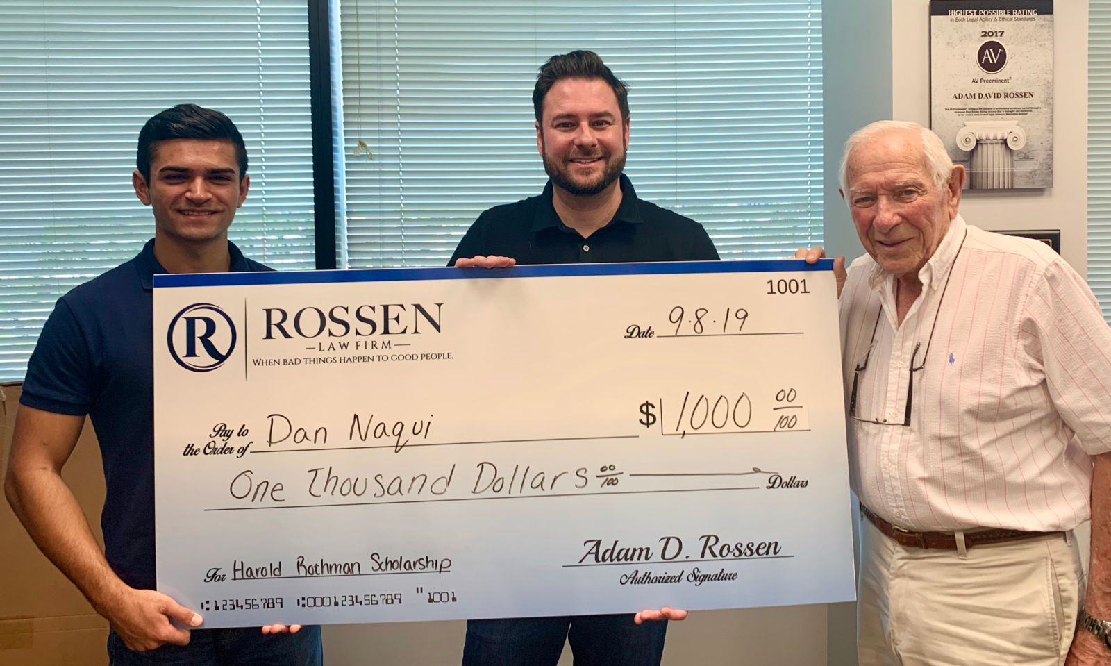 Fort Lauderdale Law Firm Business Scholarship recipient is pictured with Adam and Harold at RLF