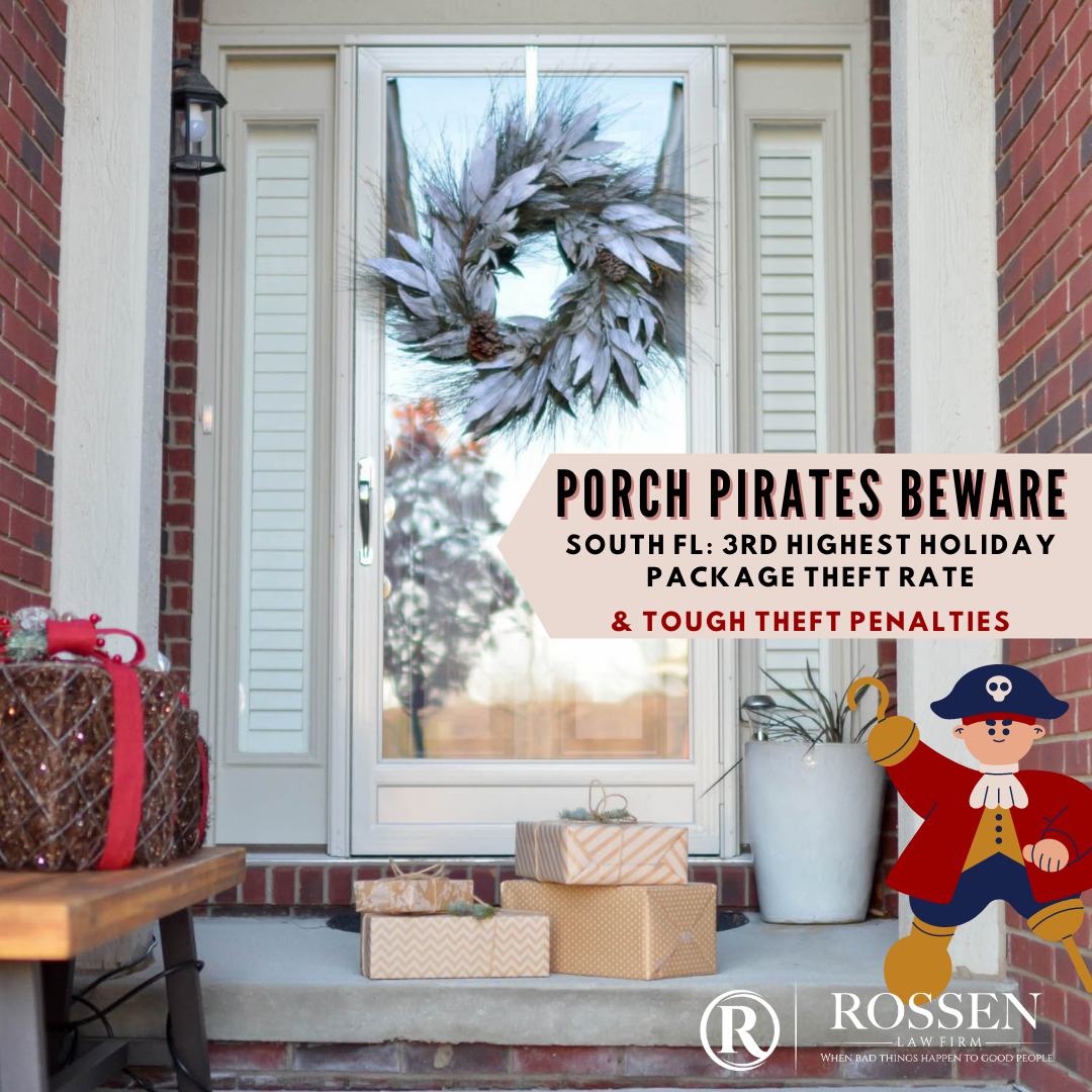 Porch pirated beware infogrpahic warning about south florida holiday package theft and stealing penalties in Fort Lauderdale