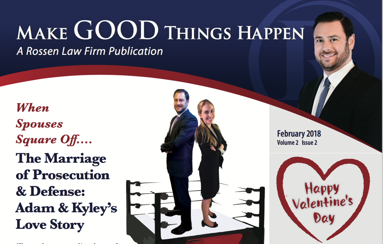 A photo of the cover of Rossen law firm's newsletter which shares the love story of Adam Rossen, a Broward county criminal defense lawyer, and Kyley Rossen, a Palm Beach state prosecutor
