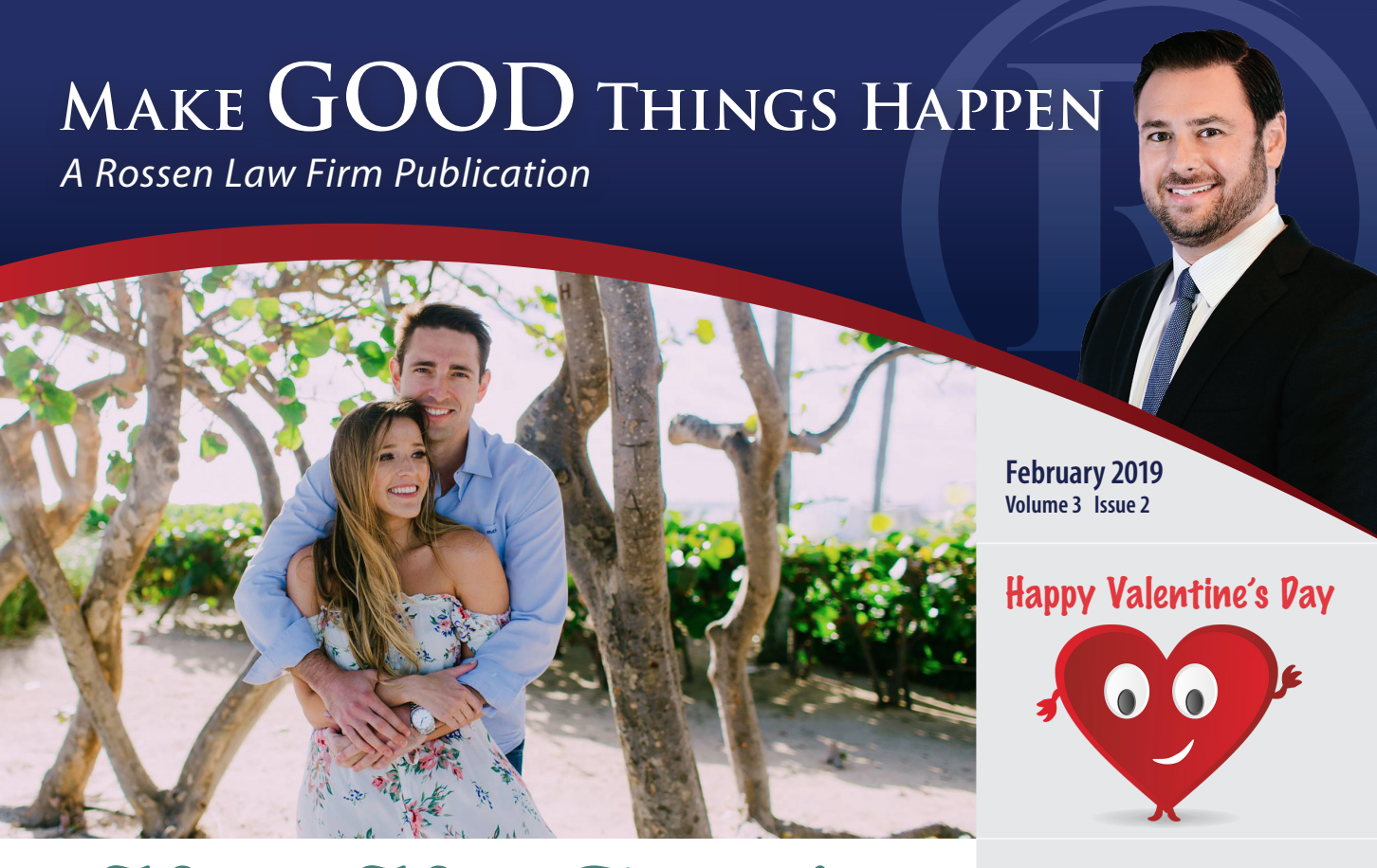 Manny and Astrid pose on the front of Rossen law firm's DUI and criminal defense monthly newsletter for South Florida
