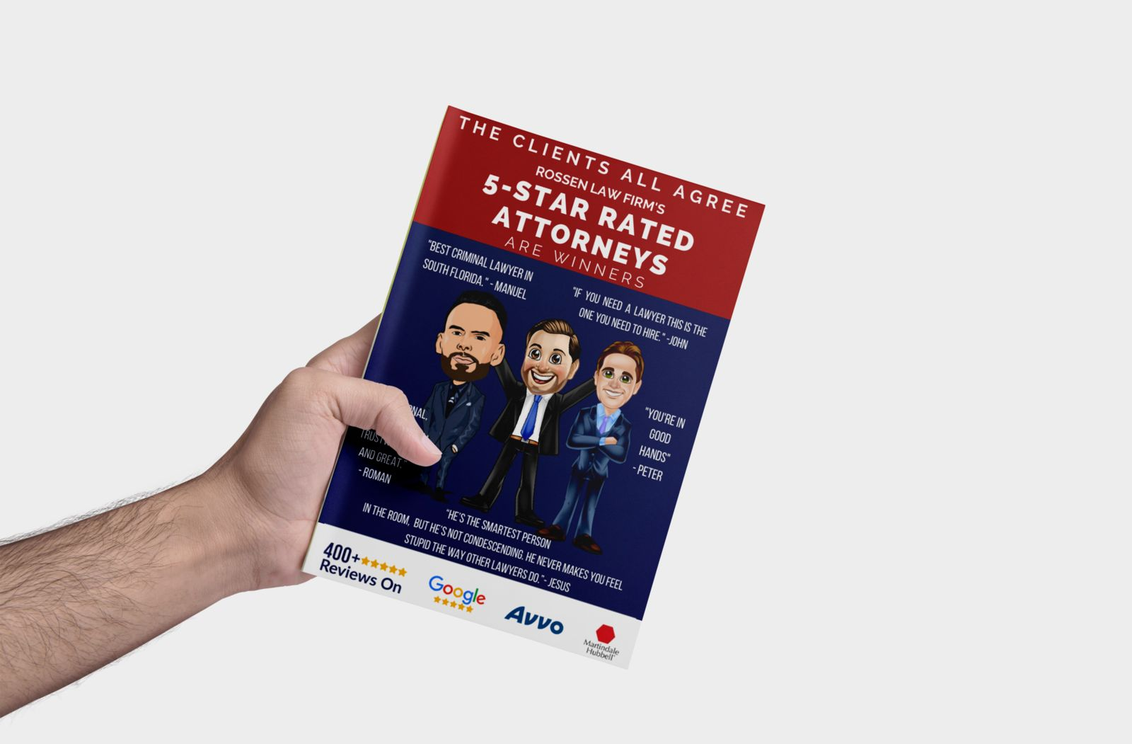 A hand holds Adam, David and Manny's client review booklet. A criminal defense and DUI defense law firm that has more than 400 5 star reviews