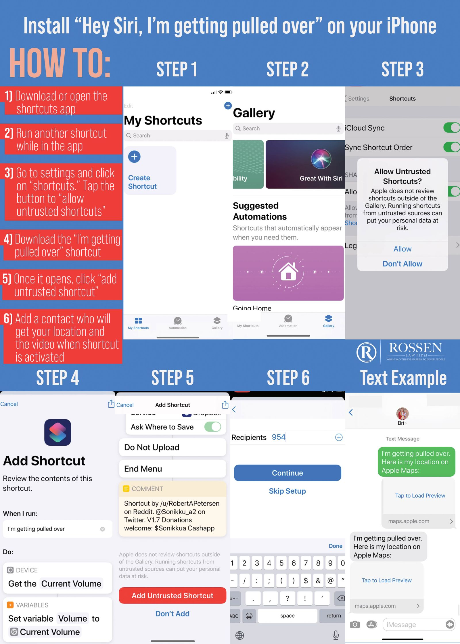 """Instructions on how to record police when pulled over by saying """"Hey, Siri, I'm getting pulled over."""" The infographic explains the steps to down load the shortcut to record the police automatically"""